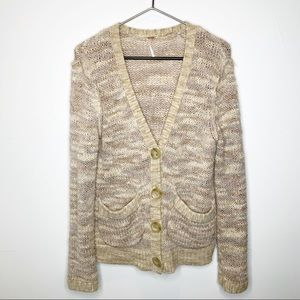 Free People V-Neck Button Down Knit Cardigan